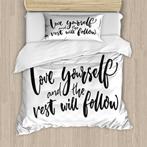 Ambesonne Quote Duvet Cover Set Twin Size, Love Yourself a