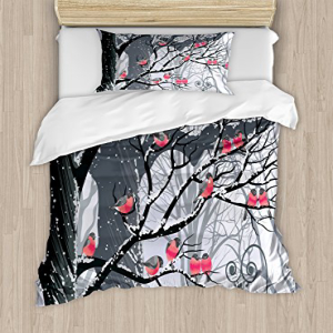 Ambesonne Winter Duvet Cover Set, Bullfinches on Trees Win