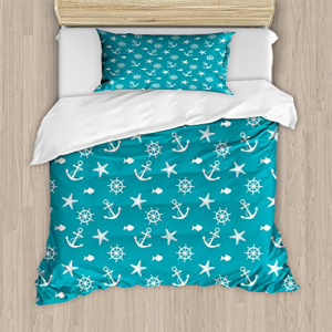 Lunarable Nautical Duvet Cover Set Twin Size, Ocean Creatu
