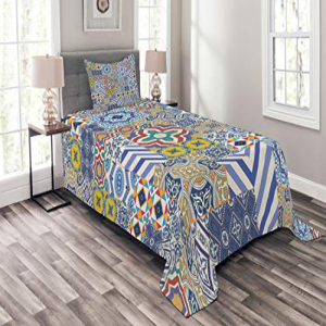 Lunarable Moroccan Bedspread Set Twin Size, Moroccan Class