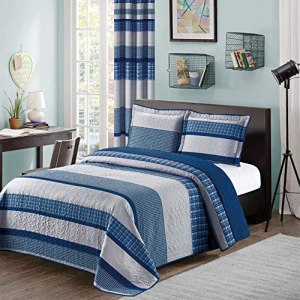 Blue and Gray Modern 世界の人気ブランド 保障 S Pillow Bedspread Plaid