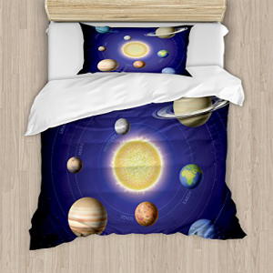 Ambesonne Space Duvet Cover Set Twin Size, Solar System Il