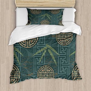 Ambesonne Bamboo Duvet Cover Set, Style Composition with O