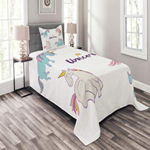 Lunarable Unicorn Bedspread Set Twin Size, Different Unico