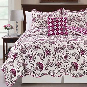Serenta Printed Paisley Flower 4 Piece Reversible Quilted