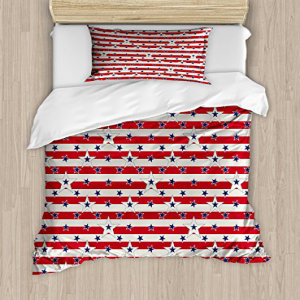 Ambesonne USA Duvet Cover Set Twin Size, Patriotic Pattern