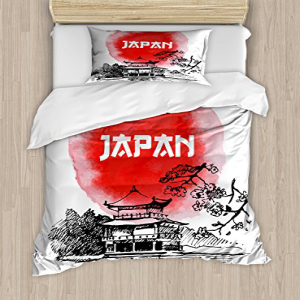 Lunarable Japan Duvet Cover Set Twin Size, Sketch and Wate