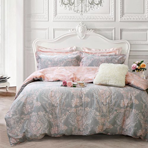 Brandream Blush Pink Girls Bedding Set 100% Cotton Damask