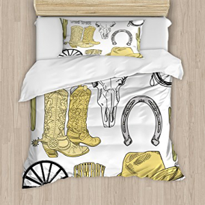 Ambesonne Western Duvet Cover Set, Cowboy Rodeo Accessorie
