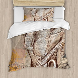 Ambesonne Music Duvet Cover Set, Jazz Musician Playing The