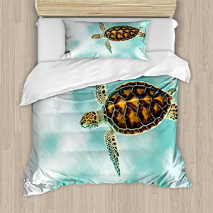 Ambesonne Turtle Duvet Cover Set, Baby Turtle Swimming in