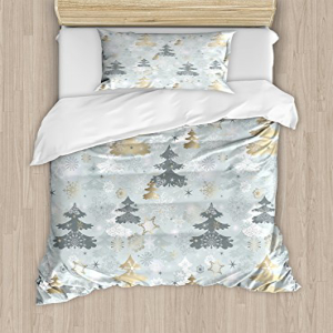 Ambesonne Christmas Duvet Cover Set Twin Size, Retro Pine