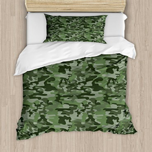 Ambesonne Forest Green Duvet Cover Set, Abstract Pattern i