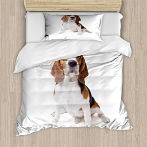 Ambesonne Beagle Twin Size Duvet Cover Set, Beagle Dog Pos