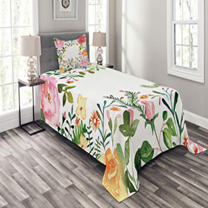 Lunarable Flower Bedspread Set Twin Size, Shabby Chic Roma