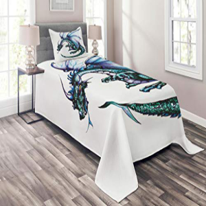 Lunarable Dragon Coverlet Set Twin Size, Epic Beast Dragon