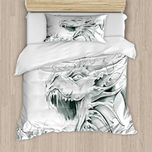 Ambesonne Dragon Duvet Cover Set Twin Size, Sketch of A Me