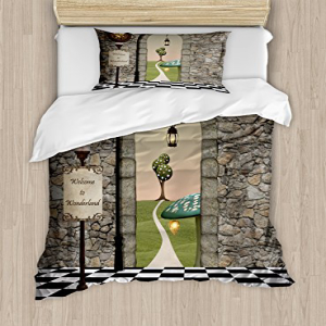 Ambesonne Alice in Wonderland Duvet Cover Set, Welcome Wond