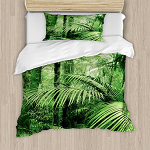 Ambesonne Rainforest Duvet Cover Set, Palm Trees and Exotic