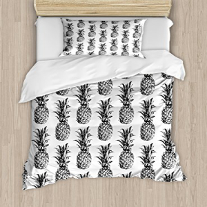 Ambesonne Pineapple Duvet Cover Set, Hand Drawn Tropical Th