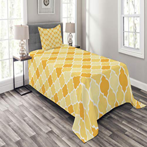 Ambesonne Mustard Theme Bedspread Set Twin Size, Age-Old T