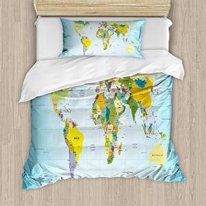 Ambesonne World Map Duvet Cover Twin Size 正規逆輸入品 W Set 毎日激安特売で 営業中です