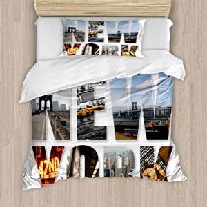 Ambesonne New York Duvet Cover Set, New York City Collage F