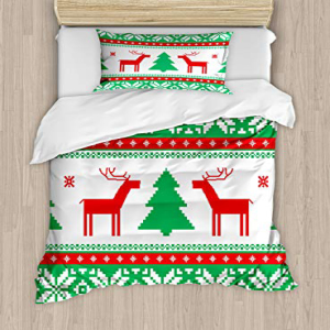 Ambesonne Christmas Duvet Cover Set Twin Size, Knit Style