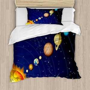 Ambesonne Space Duvet Cover Set, Solar System with Sun Uran
