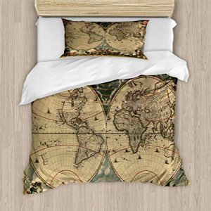 Ambesonne Vintage Duvet Cover Set Twin Size, Dated Old Map