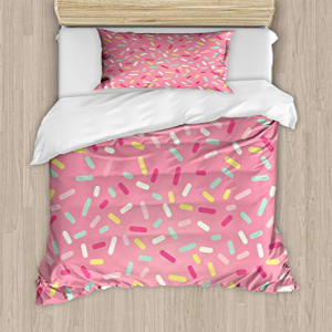 Ambesonne Pink and White Duvet Cover Set Twin Size, Abstra