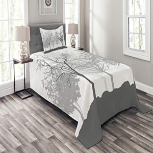 Lunarable Nature Bedspread Set Twin Size, Silhouette Trees