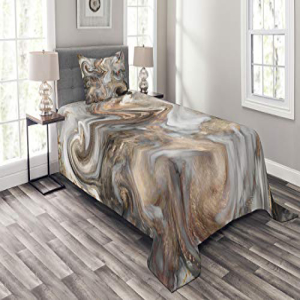 Ambesonne Marble Bedspread Set Twin Size, Retro Style Pain