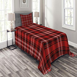 Ambesonne Men Bedspread Set Twin Size, Nostalgic Striped P