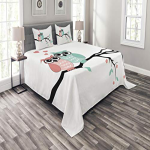 Ambesonne Seasonal Wrap入荷 Teal and White Size Set Bedspread 再入荷/予約販売! Queen