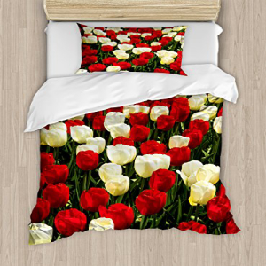 Ambesonne Garden Duvet Cover Set Twin Size, Tulips in Keuk