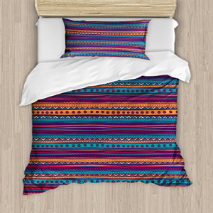 Ambesonne Tribal Duvet Cover Set Twin Size, Striped Retro