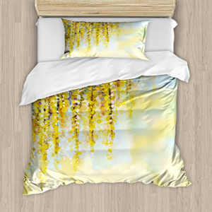 Ambesonne Watercolor Flower Duvet Cover Set, Charms of Gol