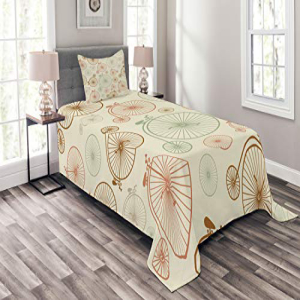 Lunarable Vintage Bedspread Set Twin Size, Vintage Bicycle
