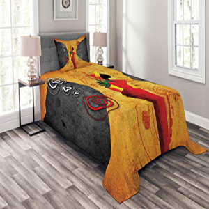 Lunarable African Bedspread Set Twin Size, Traditional Afr