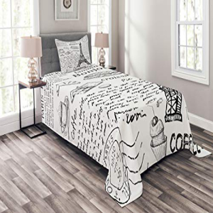 Ambesonne Paris Bedspread Set Twin Size, Traditional Famou
