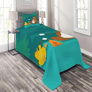 Lunarable Camping Coverlet Set Twin Size, Bear and Duck Ro