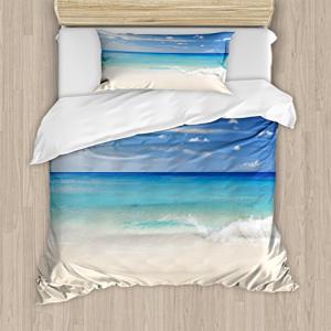 Ambesonne Ocean Duvet Cover Set, Tropic Ocean Style Sandy S
