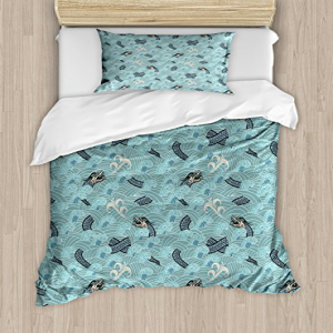 Ambesonne Japanese Wave Duvet Cover Set Twin Size, Asian S