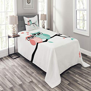 Ambesonne Teal and White Bedspread Set Twin Size, Cute Owl