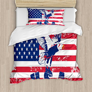 Ambesonne United States Duvet Cover Set Twin Size, Grunge