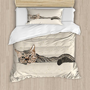 Ambesonne Cat Duvet Cover Set Twin Size, Lazy Sleepy Cat F
