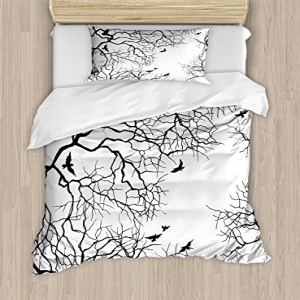 Ambesonne Nature Duvet Cover Set, Birds Flying Over Twiggy