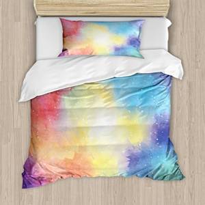 Ambesonne Abstract Duvet Cover Set, Watercolor Galaxy Oute