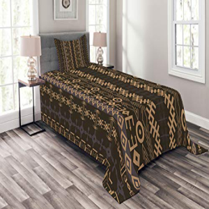 Ambesonne African Bedspread Set Twin Size, Traditional Eth